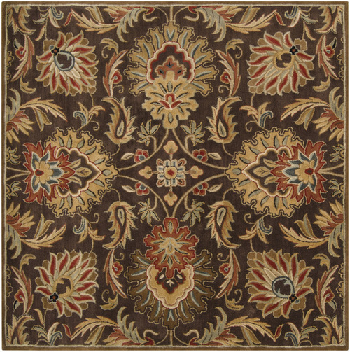 4' x 4' Brown and Ivory Contemporary Hand Tufted Floral Square Wool Area Throw Rug - IMAGE 1