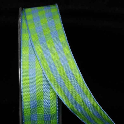 """Green and Blue Gingham Wired Woven Edge Craft Ribbon 1"""" x 54 Yards - IMAGE 1"""