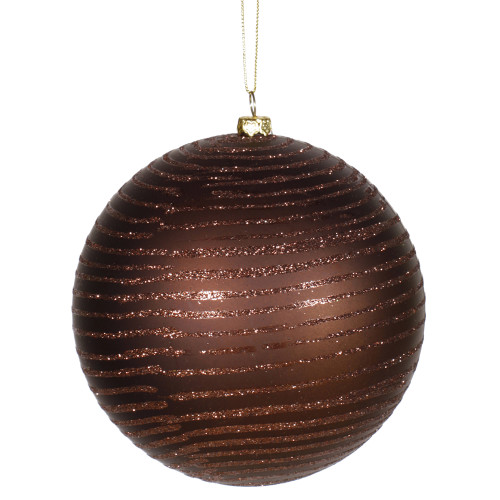 """Chocolate Brown Glitter Striped Shatterproof Christmas Ball Ornament 4.75"""" (120mm) - IMAGE 1"""