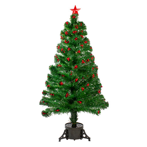4' Pre-Lit Color Changing Artificial Christmas Tree with Red Berries - IMAGE 1