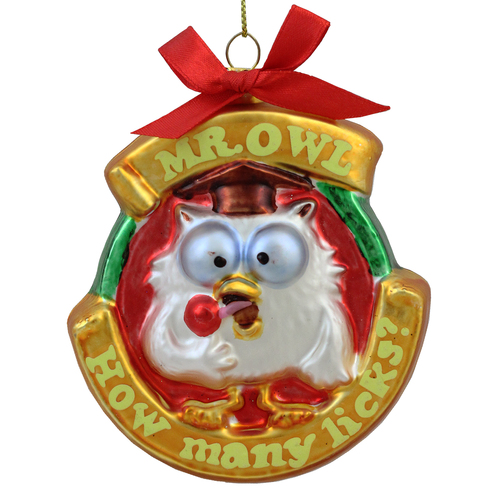"""3.5"""" Tootsie Roll Pop Candy Filled Lollipop Mr. Owl Glass Christmas Ornament - IMAGE 1"""