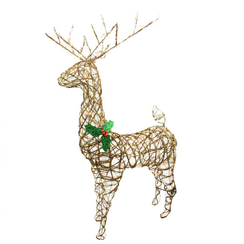 """57"""" Brown and Green Lighted Standing Grapevine Reindeer Christmas Outdoor Decoration - Clear Lights - IMAGE 1"""