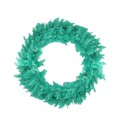 Pre-Lit Seafoam Artificial Christmas Wreath - 48-Inch, Clear and Green Lights - IMAGE 1