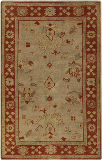 3.5' x 5.5' Traditional Brick Red and Beige Hand Knotted Rectangular Wool Area Throw Rug - IMAGE 1