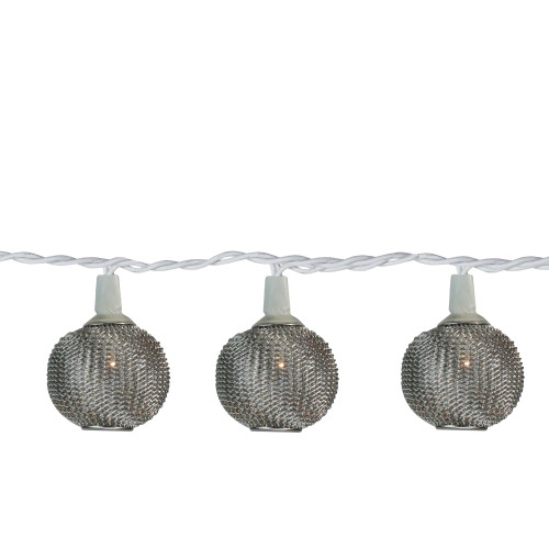 10 Battery Operated Silver Mini Patio Lights - 7.5 ft White Wire - IMAGE 1