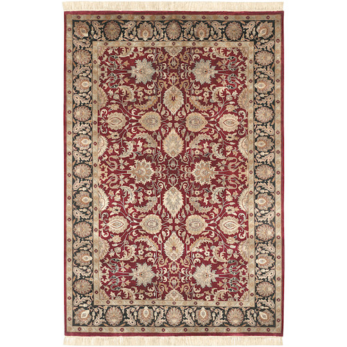 5.5' x 8.5' Floral Red and Green Rectangular Hand Knotted Wool Area Throw Rug - IMAGE 1