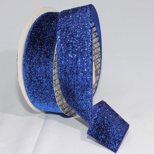 """Royal Blue Glitter Woven Edge Velvet Craft Ribbon 1.5"""" x 11 Yards - IMAGE 1"""