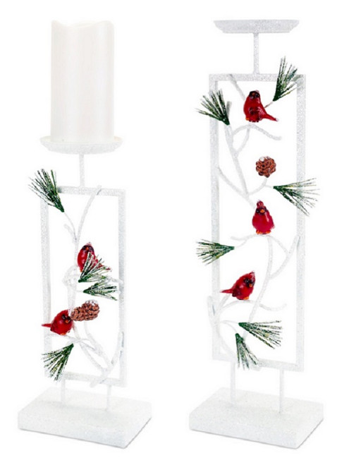 "Set of 2 Woodland Inspired Snowy Cardinal Christmas Pillar Candle Holders 19.5"" - IMAGE 1"