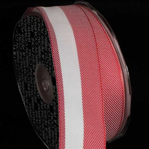 """Red and White Stripe Wired Craft Ribbon 1.5"""" x 54 Yards - IMAGE 1"""