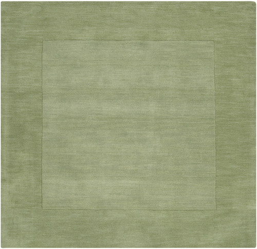 9.75' x 9.75' Solid Green Hand Loomed Square Wool Area Throw Rug - IMAGE 1