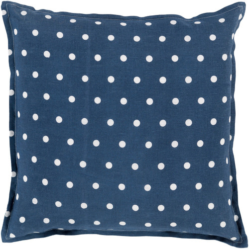 """22"""" Navy Blue and White Polka Dots Square Contemporary Throw Pillow - IMAGE 1"""