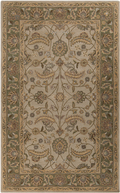 6' x 9' Claudius Sage Green and Brown Hand Tufted Oval Wool Area Throw Rug - IMAGE 1