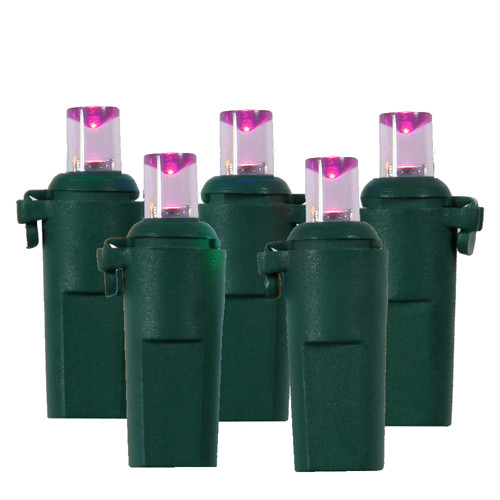 15 Pink Battery Operated 8 Function LED Christmas Lights - 7 ft Green Wire - IMAGE 1