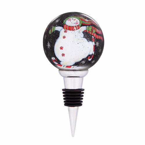 "5.75"" Ne'Qwa ""Peppermint Skates"" Glass Christmas Wine Stopper - IMAGE 1"