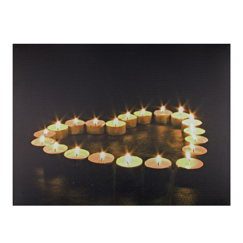"""LED Lighted Flickering Heart-Shaped Candles Canvas Wall Art 15.75"""" - IMAGE 1"""