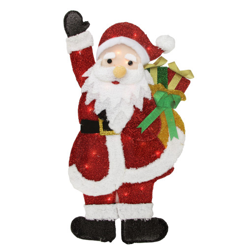 """32"""" Red and White Lighted Waving Santa with Gifts Christmas Outdoor Decoration - IMAGE 1"""