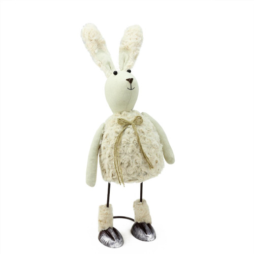 "17"" Cream White and Tan Bobble Bunny Rabbit Easter Tabletop Figurine - IMAGE 1"