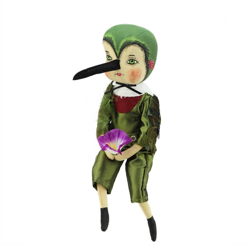 """13"""" Green and Red Easter Hailey Hummingbird Girl Spring Display Figurine - IMAGE 1"""