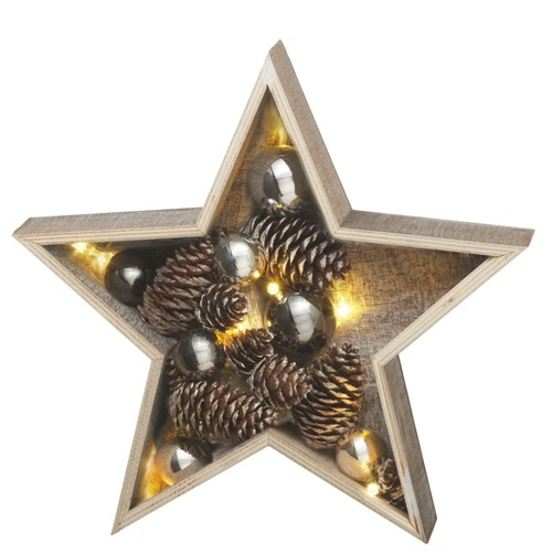 """15"""" Brown and Silver LED Lighted Medium Country Rustic Wooden Star Christmas Decoration - IMAGE 1"""