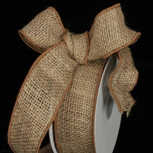 "Natural Brown Burlap Wired Craft Ribbon 2"" x 40 Yards - IMAGE 1"
