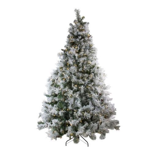 7.5' Pre-Lit LED Lights Flocked Victoria Pine Artificial Christmas Tree - Multicolor Lights - IMAGE 1