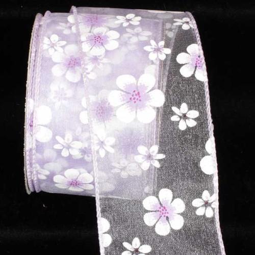 "Purple Gerbera Daisy Wired Craft Ribbon 1.5"" x 40 Yards - IMAGE 1"