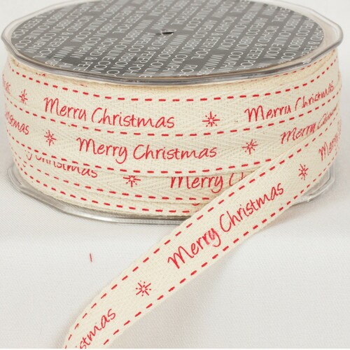 "Ivory and Red Merry Christmas Printed Woven Edge Craft Ribbon 0.62"" x 60 Yards - IMAGE 1"