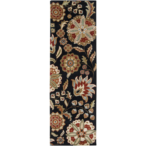 2.5' x 8' Jet Black and Turtle Green Hand Tufted Rectangular Area Throw Rug Runner - IMAGE 1