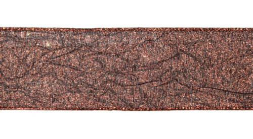 """Luxury Lodge Sparkling Copper with Design Wired Christmas Craft Ribbon 2.5"""" x 10 Yards - IMAGE 1"""