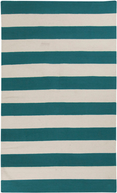 3.5' x 5.5' Accumbent Striped Teal Blue and Ivory Reversible Hand Tufted Rectangular Area Throw Rug - IMAGE 1