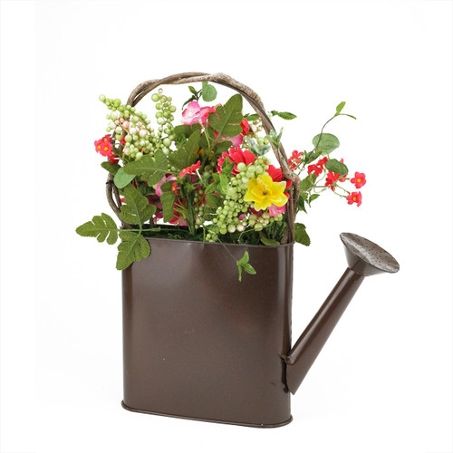 """17"""" Brown and Yellow Gerbera Daisy Artificial Spring Floral Arrangement with Watering Can - IMAGE 1"""