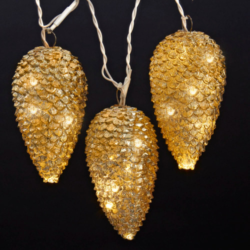20-Count Gold Pine Cone Mini Christmas Light Set, 5ft Green Wire - IMAGE 1