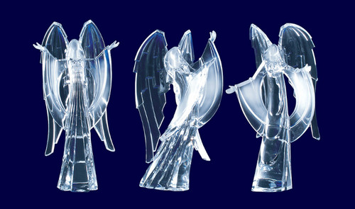 """Pack of 6 Clear Icy Crystal Religious Christmas Praising Angel Figurines 9"""" - IMAGE 1"""