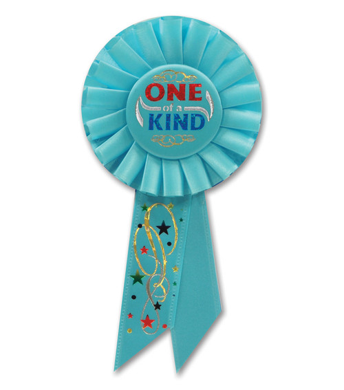 """Pack of 6 Aqua Blue """"One of a Kind"""" School and Sports Award Rosette Ribbons 6.5"""" - IMAGE 1"""