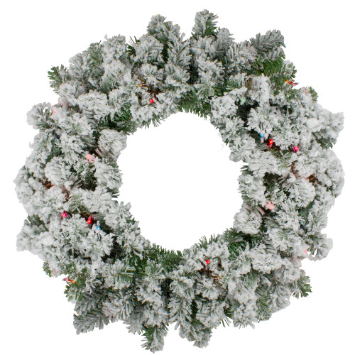 Pre-Lit Heavily Flocked Pine Artificial Christmas Wreath - 24-Inch, Multi-Color Lights - IMAGE 1