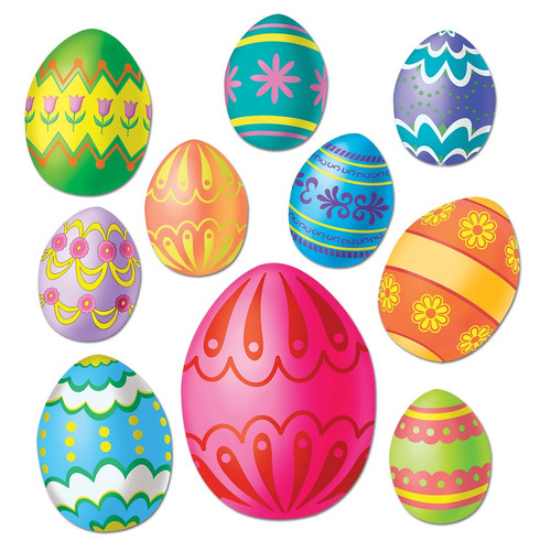 """Club Pack of 240 Colorful Easter Egg Cutout Holiday Decorations 12"""" - IMAGE 1"""