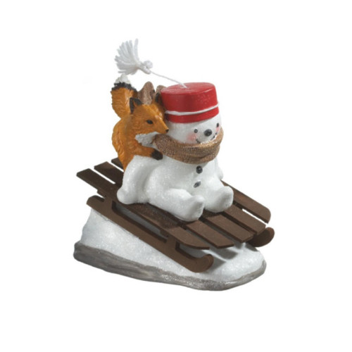 """8"""" White and Red Snowman Riding Sled with Fox Christmas Tabletop Figurine - IMAGE 1"""