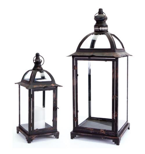 "Set of 2 Pagoda Crest Weathered Iron and Glass Pillar Candle Holder Lanterns - 26"" - IMAGE 1"