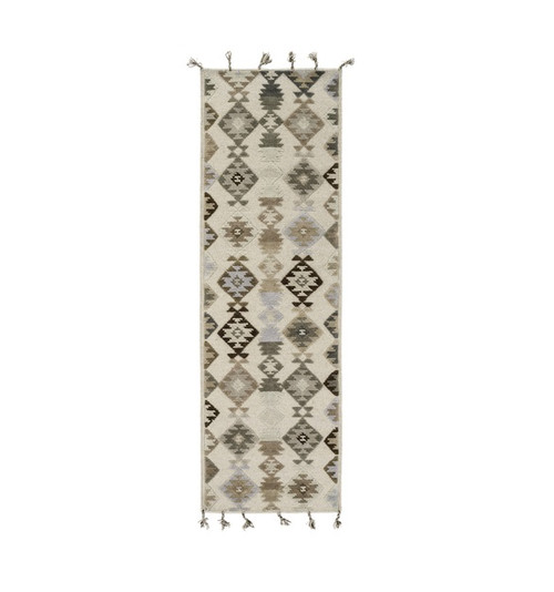 2.5' x 8' Iroquois Creations Beige, Slate and Dark Black-Brown Hand Woven Area Throw Rug Runner - IMAGE 1