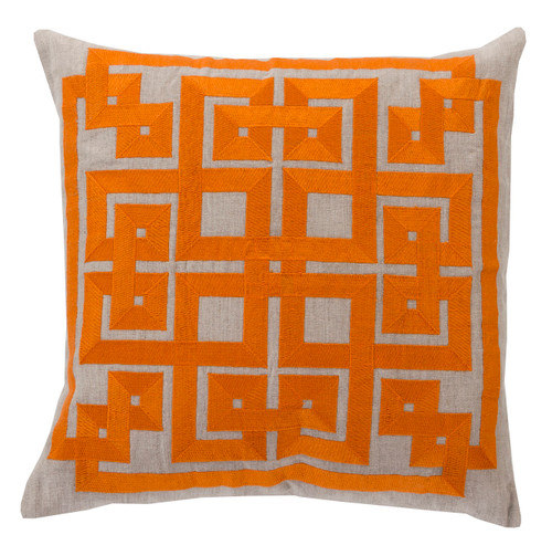 """18"""" Burnt Orange and Beige Contemporary Square Throw Pillow - Down Filler - IMAGE 1"""