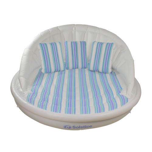 70-Inches Inflatable White and Blue Striped Floating Swimming Pool Sofa Lounge Raft - IMAGE 1