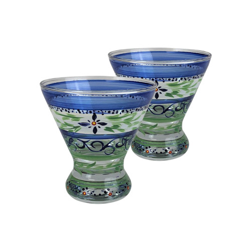 Set of 2 Blue Floral Hand Painted Cosmopolitan Wine and Dessert Glasses 8.25 oz. - IMAGE 1