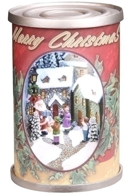 "5"" Red and White Retro Santa Claus Christmas Can Tabletop Decor - IMAGE 1"