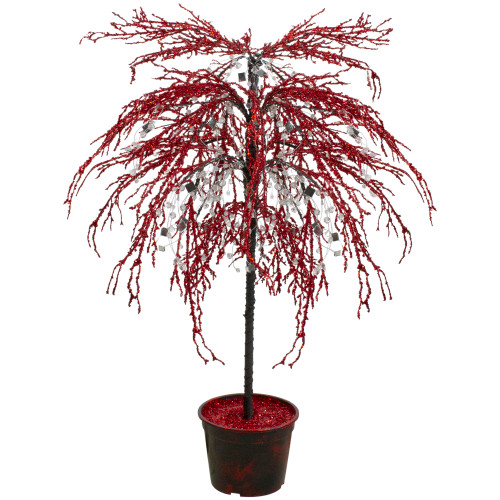 3.8' Red Crystallized Glitter Potted Artificial Christmas Tree - Unlit - IMAGE 1