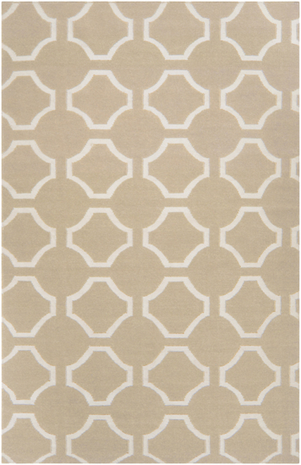 8' Geometric Beige and Ivory Hand Tufted Wool Area Throw Rug - IMAGE 1