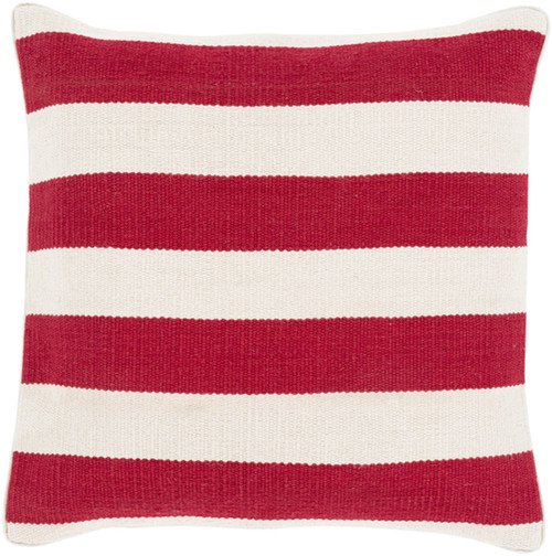 """18"""" Cherry Red and Ivory Striped Square Throw Pillow - Down Filler - IMAGE 1"""