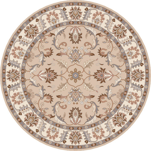 8' Traditional Gray and Beige Hand-Tufted Round Wool Area Throw Rug - IMAGE 1