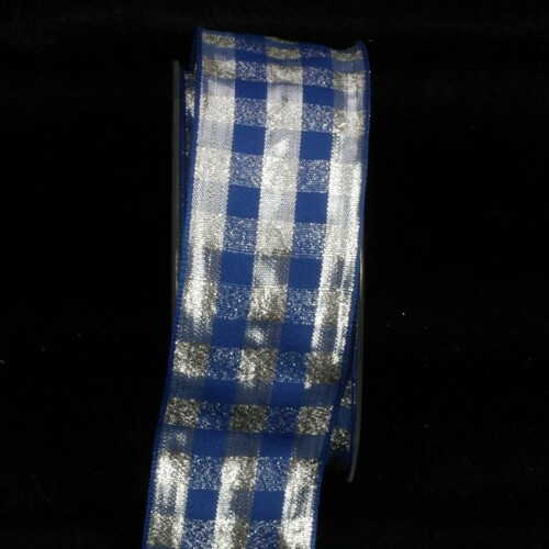 """Blue and Silver Checkered Taffeta Edge Wired Craft Ribbon 1.5"""" x 22 Yards - IMAGE 1"""