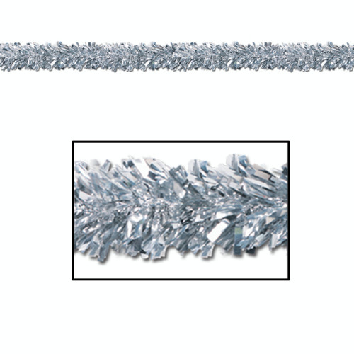 Pack of 12 Shiny Metallic Silver Foil Tinsel 6-Ply Christmas Garlands 15' - Unlit - IMAGE 1