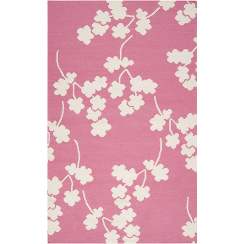 2' x 3' Falling Flowers Pink and White Hand Woven Rectangular Wool Area Throw Rug - IMAGE 1
